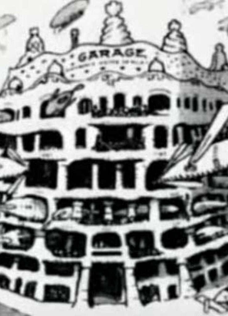Una vignetta satirica ritraente Casa Milà come un garage per dirigibili,