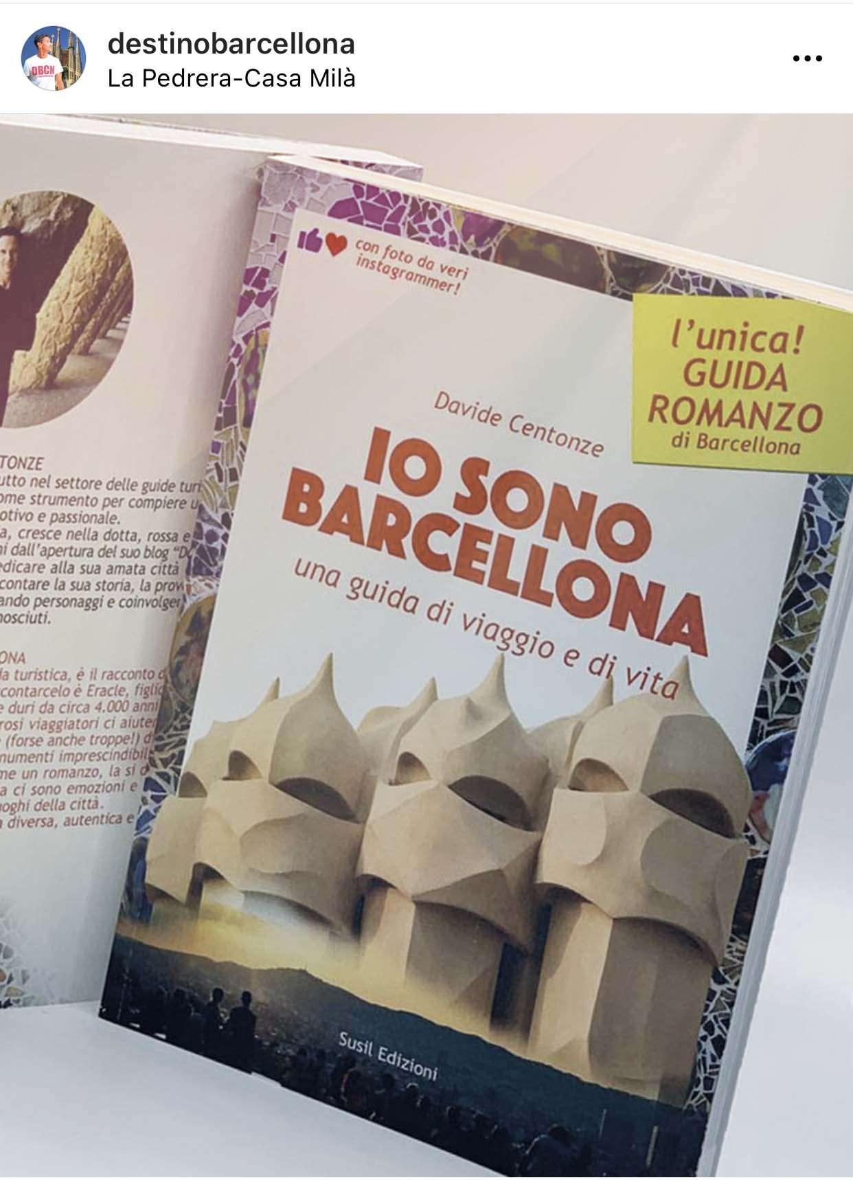 La copertina della guida romanzo IO SONO BARCELLONA con gli emblematici camini guerrieri di Casa Milà - La Pedrera