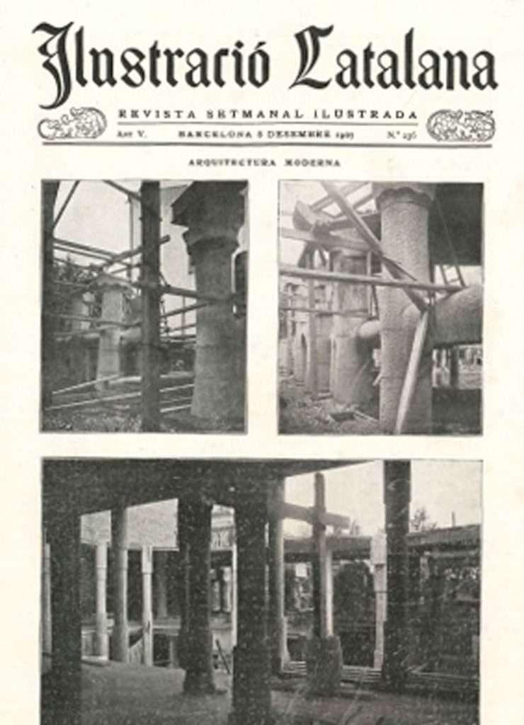 La copertina di una rivista specialistica mostra i cantieri di Casa Milà